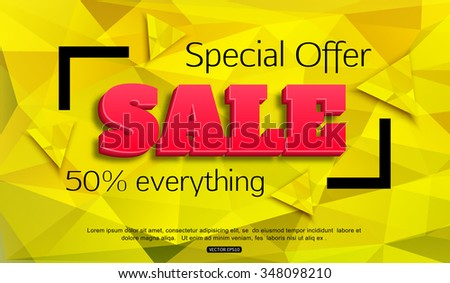 Sale banner vector. Sale background. Special Offer. 50 off. Vector EPS 10. - stock vector