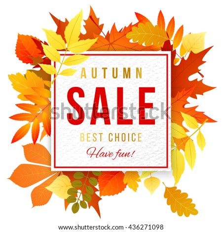 Sale banner with bright autumn leaves - stock vector