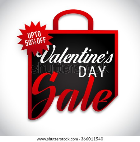 Sale banner with discount offer for Happy Valentine's Day celebration. - stock vector
