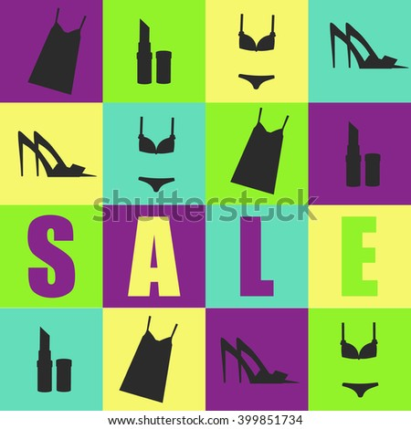 Sale banner with women clothes, accessories, shoes, cosmetics and lingerie. design template, flyer, vector illustration for commerce, stores and shops - stock vector
