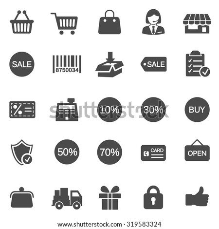 Sale black icons set.Vector - stock vector
