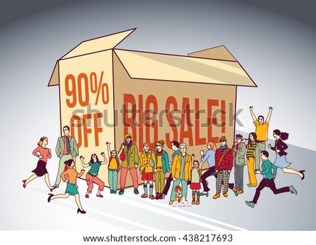 Sale box group people shopping discount run happy sign. Color vector illustration. EPS10