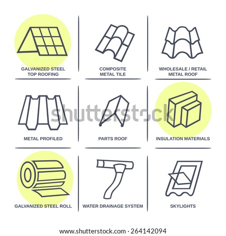 Sale buildings materials (roof, facade) site icons infographics set isolated on white background, vector illustration - stock vector
