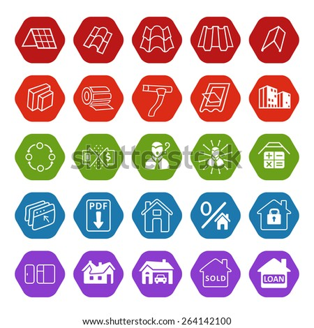 Sale buildings materials (roof, facade) site icons set isolated on white background, vector illustration - stock vector