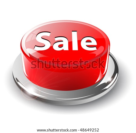 Sale button, 3d red glossy metallic, vector.