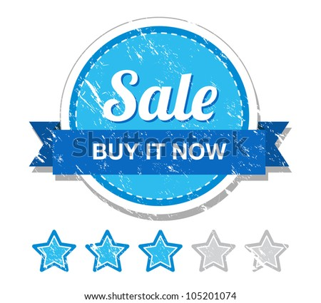 Sale buy it now - retro grunge label - stock vector