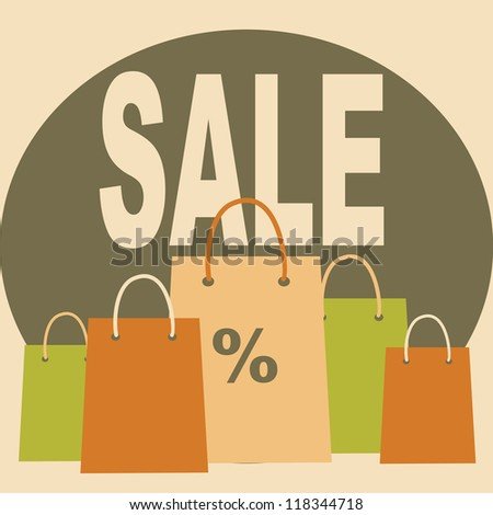 Sale card. Many shopping bags. - stock vector