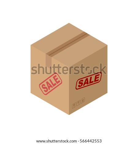 Sale Cardboard box isolated. discount pasteboard case on white background