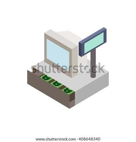 Sale cash register with cash drawer icon - stock vector