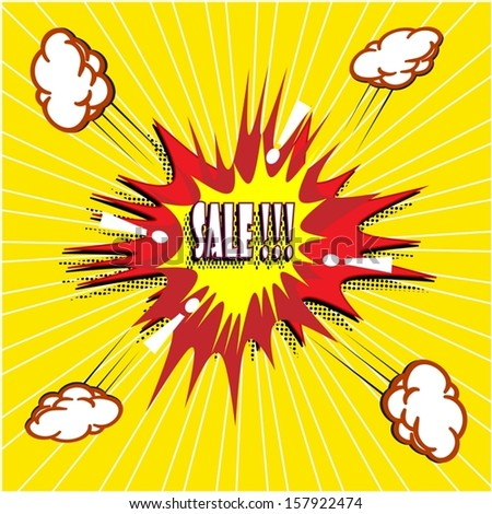 Sale Comic book explosion vector illustration background