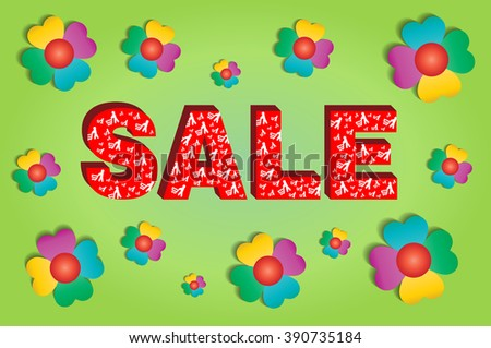 Sale concept for spring or summer season. Red text sale with customers with trolleys with flowers on a green background.