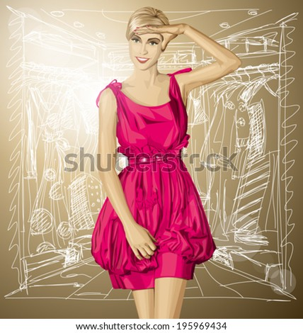 Sale concept. Vector surprised blonde in pink dress - stock vector