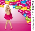 Sale concept. Vector surprised blonde in pink dress do not know what to buy. All layers well organized and easy to edit - stock photo