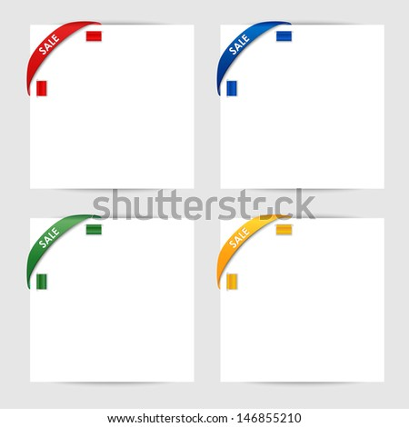 Sale corner ribbon on a white paper - stock vector