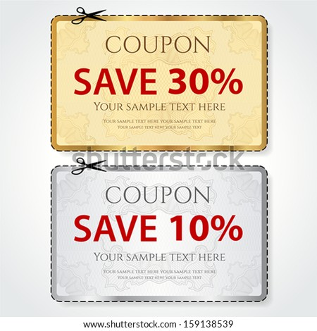 Sale Coupon Voucher Tag Gold Silver Stock Vector (2018) 159138539 ...