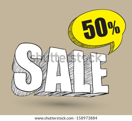 Sale 3d drawing.  / can use for promotion - stock vector