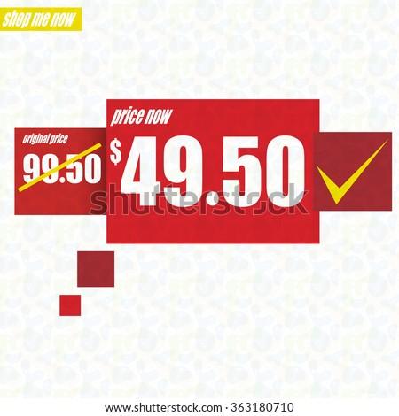 Sale design - Price tag, old price / new price - stock vector