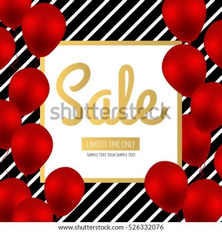 Sale Design Red Luxury Balloons On Stock Vector 526332076 - Shutterstock