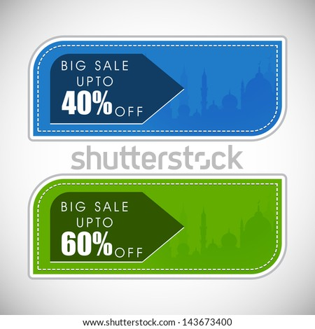 Sale, discount and best offer tag, label or sticker set on occasion of Ramadan Kareem and Eid Mubarak. - stock vector