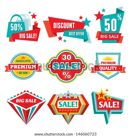 sale discount badges abstract vector logo stock vector royalty free