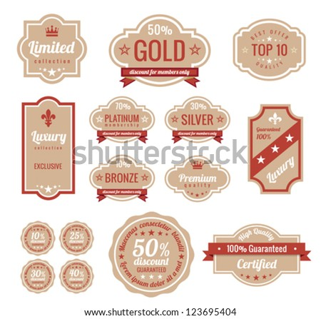 Sale discount RETRO labels. Old Design Stickers pack.  Premium, Gold, Silver, Bronze Vintage Labels. Retro logo template. Trendy design. High quality. - stock vector