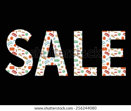 Sale discount sign. Shopping items inside silhouette. Furniture vector illustration - stock vector