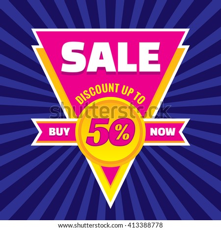 Sale discount up to 50% vector banner concept illustration. Buy now. Sale vector layout. Sale triangle badge with ribbon. Discount sticker.  - stock vector