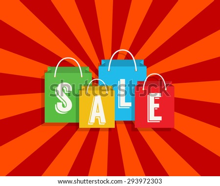 Sale discount with shopping bags. Vector illustration
