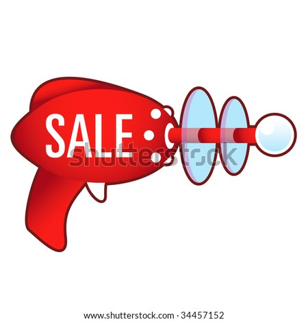 Sale e-commerce icon on laser raygun vector illustration in retro 1950's style.