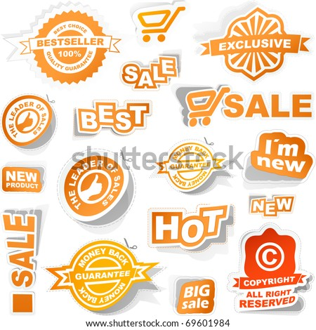 Sale elements - coupon set, special guarantee tags for banner, Modern best price stickers. Great collection - best, new, sale elements. - stock vector