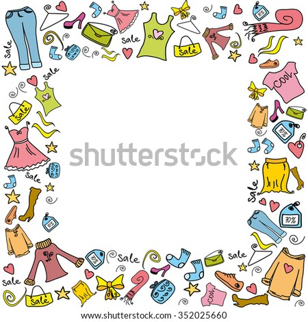 Sale Fashion Shopping Background Frame Clothes Stock Vector ...