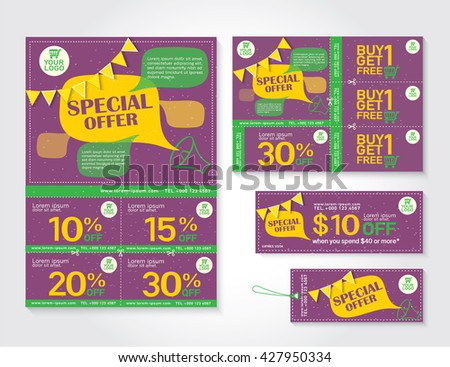 Sale flyer, Brochure, Promotions coupon or banner design with best discount offers, Template background size A4, A5, Vector EPS10. - stock vector