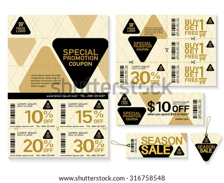Sale flyer, promotions coupon or banner design with best discount offers, Template background size A4, A5, Black and gold color,  Vector EPS10. - stock vector