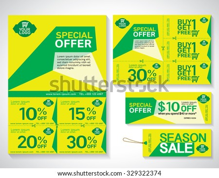 Sale flyer, promotions coupon or banner design with best discount offers. Template background size A4, A5, Vector EPS10. - stock vector
