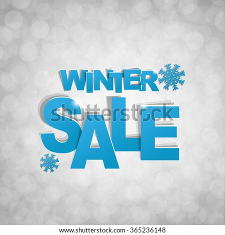 Sale Glitter Banner With Snowflake With Gradient Mesh, Vector Illustration