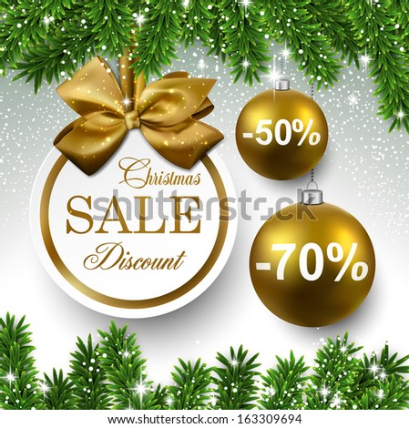 Sale golden round labels. Christmas balls over starry background with fir branches. Vector illustration.  - stock vector