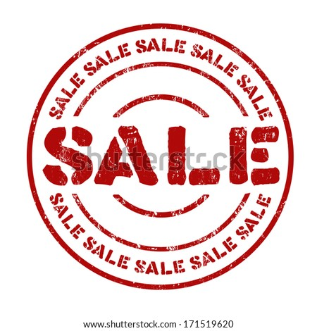 Sale grunge rubber stamp on white, vector illustration - stock vector
