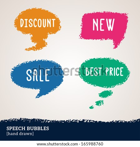 Sale hand drawn multicolored speech bubbles isolated on white. Vector illustration. Design elements for business events. Pastel crayons or pencil drawing. Can be used for business presentation design. - stock vector