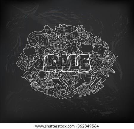 Sale - Hand Lettering and Doodles Elements Sketch on Chalkboard Background. Vector illustration - stock vector