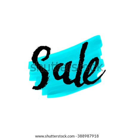 Sale Hand lettering marker design template. Handmade calligraphy.