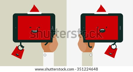Sale holiday shopping conceptual illustrations for mobile apps. Flat design vector online web banners. Cute funny kawaii tablet characters - stock vector