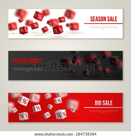 Sale Horizontal Banners Set. Vector Illustration. Design Template for Holiday Sale Events. 3d Cubes with Percents. Original Festive Backdrop. Black Friday. - stock vector