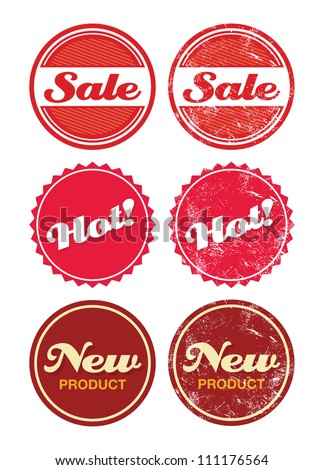 Sale, hot product, new - shopping retro badges, labels - stock vector