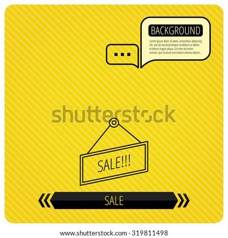 Sale icon. Advertising banner tag sign. Chat speech bubbles. Orange line background. Vector. - stock vector