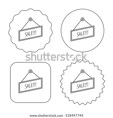 Sale icon. Advertising banner tag sign. Flat circle, star and emblem buttons. Labels design. Vector - stock vector