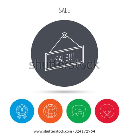 Sale icon. Advertising banner tag sign. Globe, download and speech bubble buttons. Winner award symbol. Vector - stock vector