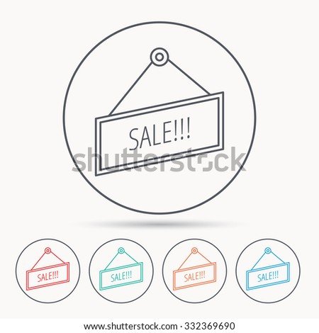 Sale icon. Advertising banner tag sign. Linear circle icons. - stock vector
