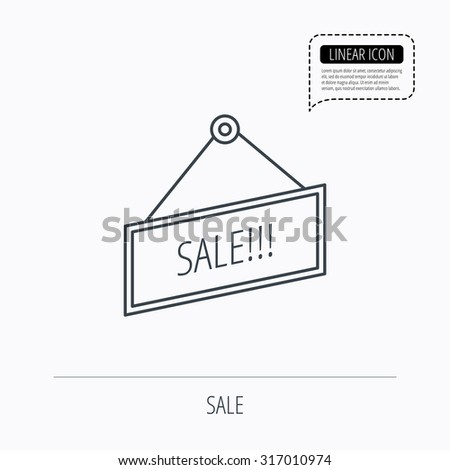 Sale icon. Advertising banner tag sign. Linear outline icon. Speech bubble of dotted line. Vector - stock vector