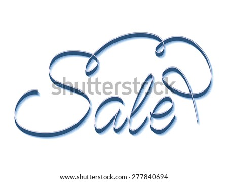 Sale.Inscription hand letters with swirls in the style of Kvilling. - stock vector