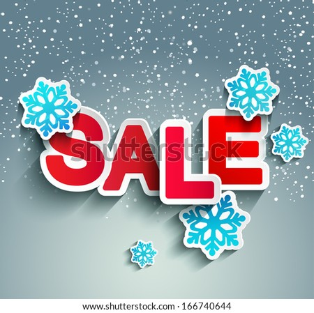 Sale inscription with snowflakes in paper style against snowfall, vector. - stock vector